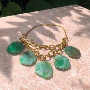 Anthropologie green stone necklace